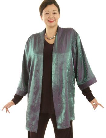 Mother Bride Dressy Kimono Jacket Satin Crinkle Green Cerise Sizes 18/20, 26/28