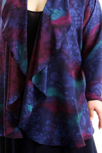 Plus Size Mother of Bride Drape Jacket Silk Navy Burgundy Purple Teal Size 22/24