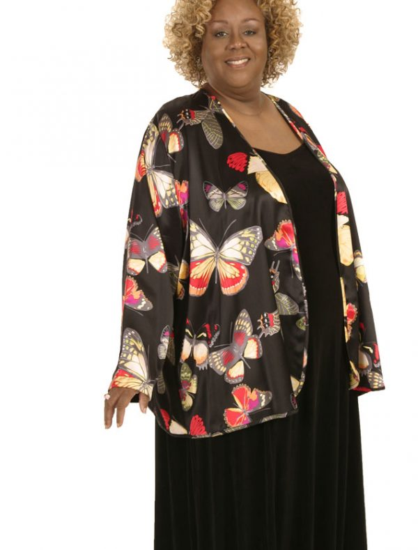 Plus Size Mother of Bride Jacket Silk Butterflies Brights Black