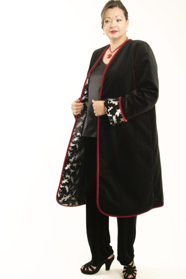 Plus Size Reversible Coat Velvet Silk Dragonflies Black Silver