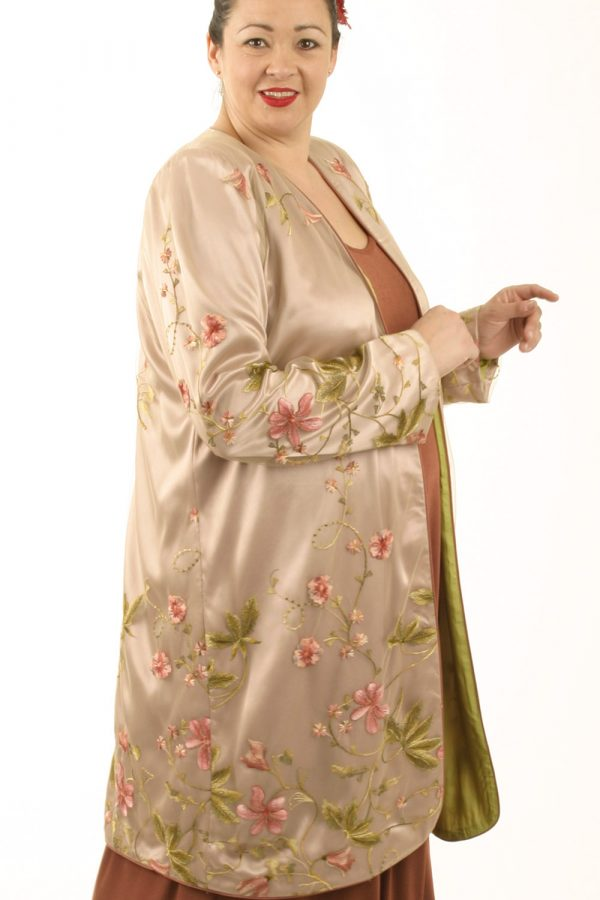 Mother of Bride Coat French Embroidered Peach Pink Beige Custom Made Sizes 14 -32