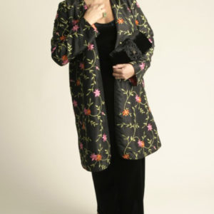 Special Occasion Kimono Coat Beaded Embroidered Floral Black Brights Sizes 14 – 32