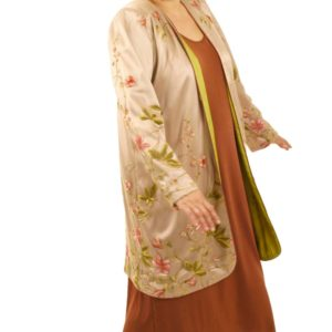 Plus Size Custom Special Occasion Coat French Embroidered Pink Peach Beige Sizes 14 -32