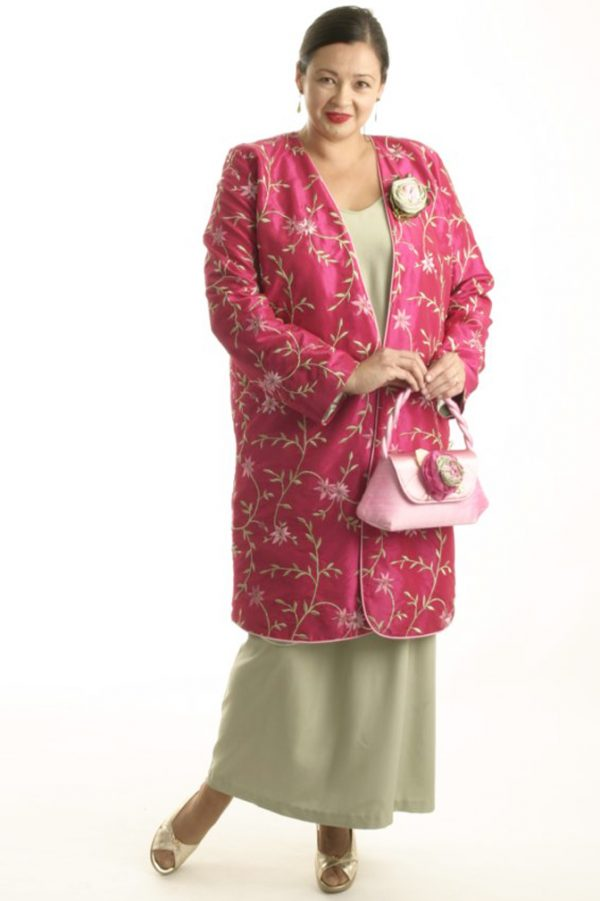 Mother Bride Formal Coat Beaded Embroidered Fuchsia Green Sizes 14 – 32