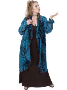 Plus Size Special Occasion Coat Paisley Silk Velvet Turquoise Chocolate