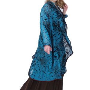 Plus Size Designer Special Occasion Coat Paisley Silk Velvet Burnout Turquoise Chocolate