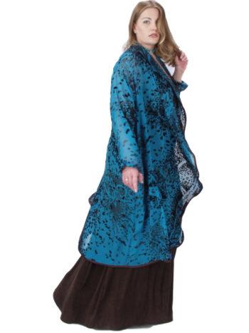 Plus Size Designer Special Occasion Coat Paisley Silk Velvet Burnout  Turquoise Chocolate