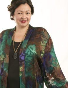 Tunic-Length Kimono Jacket Purple, Chocolate, Emerald Handpainted Silk Devore Size 14/16