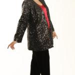 Plus Size Designer Evening Jacket All Over Sequins Black