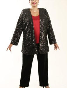 Plus Size Designer Evening Jacket All Over Sequins Black