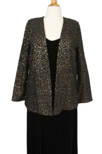 Plus Size Special Occasion Blazer Jacket Raw Silk Sequins Black Gold