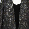 Plus Size Special Occasion Blazer Jacket Raw Silk Sequins Black Gold