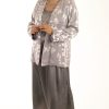 Mother Bride Formal Jacket Silk Diamante Silver Lavender Sizes 14 - 32