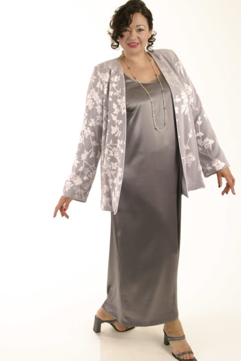 Mother Bride Formal Jacket Silk Diamante Silver Lavender Sizes 14 – 32