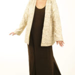 Plus Size Mother of Bride Jacket Dress Natural Raw Silk Gold Sequins