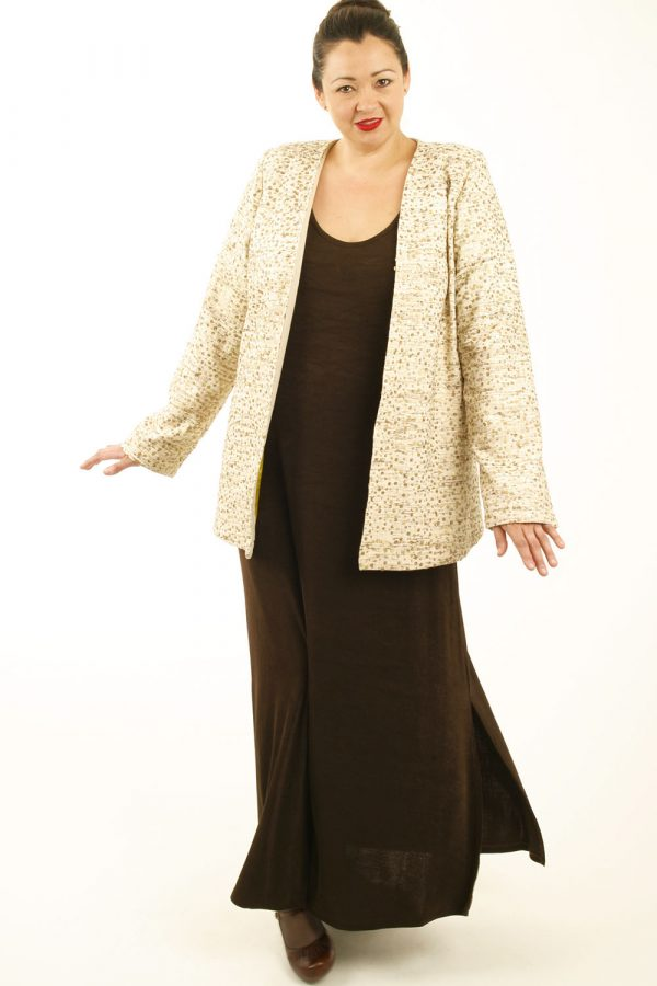 Mother of Bride Jacket Dress Natural Raw Silk Burnished Gold Sequins Sizes  14 - 32