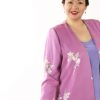 Plus Size Mother of Bride Jacket Floral Silk Devore Pink