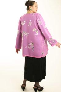 Plus Size Mother of Bride Jacket Floral Silk Devore Pink