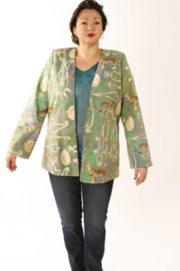 Plus Size Designer Jacket Coco Rainforest Beaded Baby Cheetah Gold Green Teal