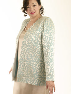 Mother of Bride Formal Lined Jacket Silk Devore Aqua Sage Champagne Sizes 14 - 32