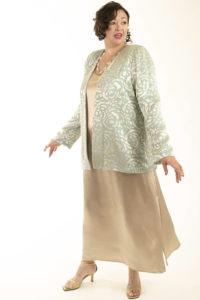 Mother of Bride Formal Lined Jacket Silk Devore Aqua Sage Champagne Sizes 14 - 32