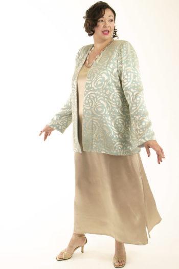 Mother of Bride Formal Lined Jacket Silk Devore Aqua Sage Champagne Sizes 14 – 32