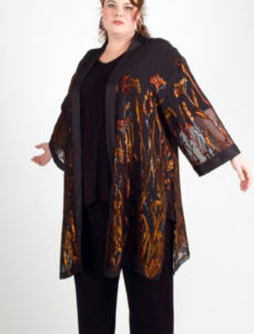 Plus Size Occasion Kimono Jacket Floral Burnout Copper Brown 22-32