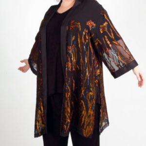 Plus Size Occasion Kimono Jacket Floral Copper Black Brown 22-32