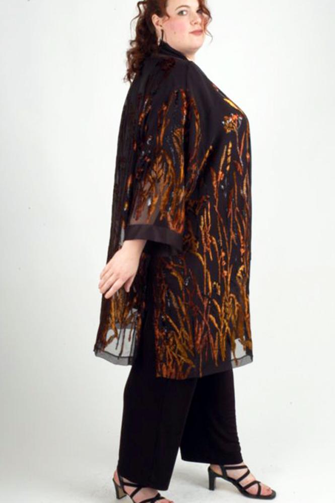 Plus Size Occasion Kimono Jacket Floral Copper Black Brown 22-32