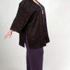 Plus Size Dressy Tunic-Length Kimono Jacket Black Crinkle Satin Sizes 14 - 32
