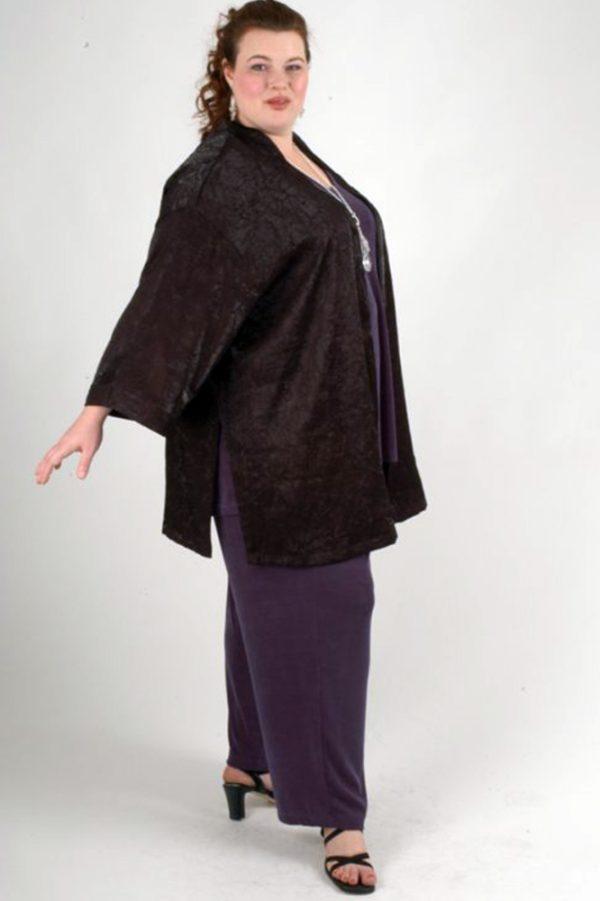 Plus Size Dressy Tunic-Length Kimono Jacket Black Crinkle Satin Sizes 14 – 32