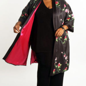 Dressy Lined Calf Length Kimono Roses Embroidered Black Pink Green Sizes 14 – 36