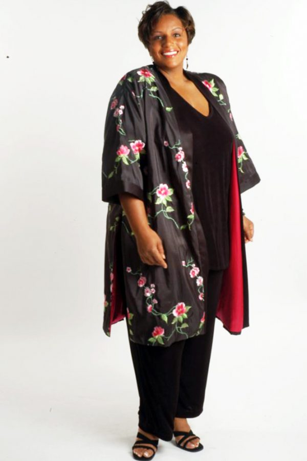 Plus Size Mother of Bride Kimono Coat Embroidered Roses Taffeta Black Pink Green