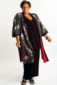 Plus Size Mother of Bride Kimono Coat Embroidered Roses Taffeta Black Pink Green