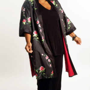 Special Occasion Kimono Coat Roses Embroidered Black Pink Green Sizes 14 – 36