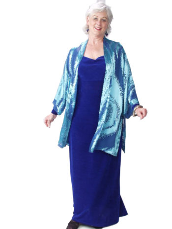 Mother of Bride Formal Kimono Jacket Silk Ocean Blue Burnout Sizes 14 – 28