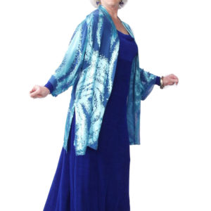Plus Size Formal Kimono Jacket Ocean Blue Silk Burnout Sizes 14 – 28