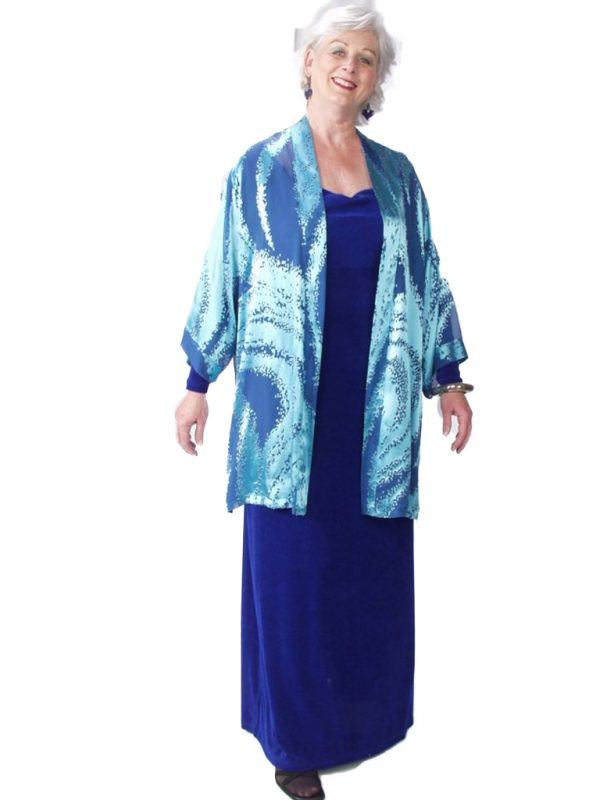 Mother of Bride Formal Kimono Jacket Silk Ocean Blue Burnout Sizes 14 – 28