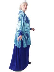 Mother of Bride Formal Kimono Jacket Silk Ocean Blue Burnout Sizes 14 - 28