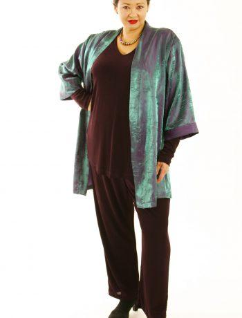 Plus Size Mother of Bride Kimono Jacket Satin Crinkle Green Cerise