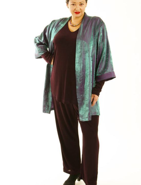 Plus Size Mother of Bride Kimono Jacket Satin Crinkle Green Cerise