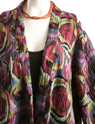 Plus Size Designer Kimono Jacket Artwear Italian Abstract
