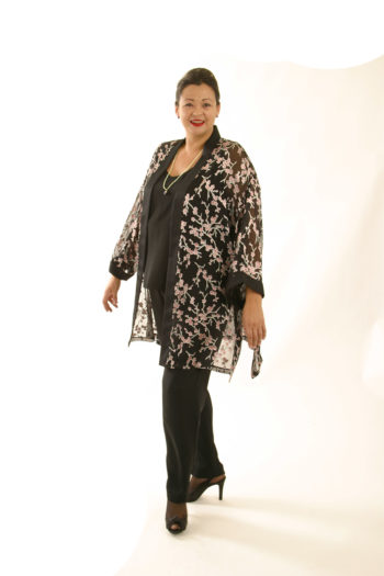 Plus Size Mother of Bride Kimono Jacket Silk Pink Black Madam Butterfly