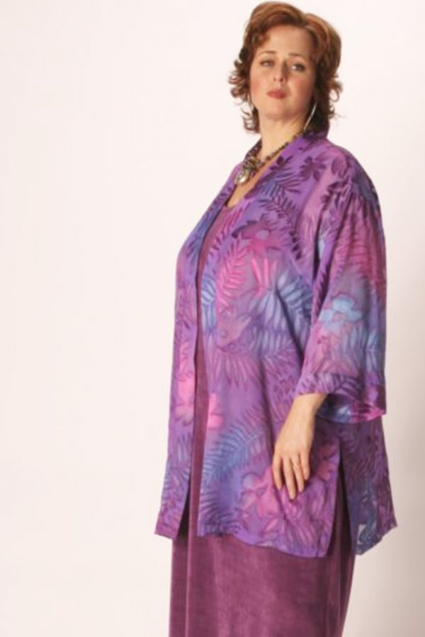 Special Occasion Kimono Jacket Tropical Mauve/Lavender Ombre Burnout Size 34/36
