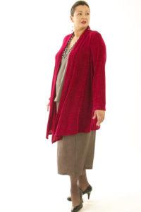 Plus Size Scarf Jacket Slinky Knit Cerise 14 - 36