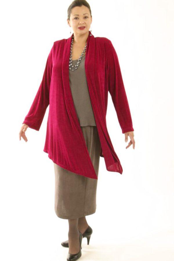 Plus Size Scarf Jacket Slinky Knit Cerise 14 – 36