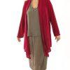 Plus Size Scarf Jacket Slinky Knit Cerise 14 - 36arfJacketCerise7