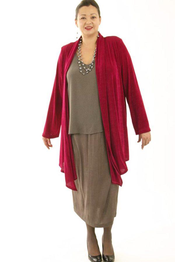 Plus Size Scarf Jacket Slinky Knit Cerise 14 – 36arfJacketCerise7