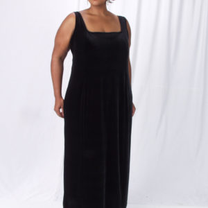 Plus Size Sheath Slip Dress Black Lycra Velvet 14 – 36