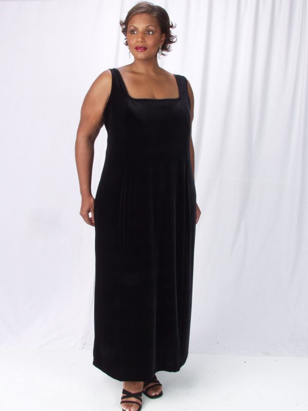 Plus Size Sheath Slip Dress Black Lycra Velvet 14 - 36